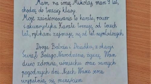 """Obrazek galerii LAUREACI SZKOLNEGO KONKURSU """"ŚWIĄTECZNY LIST DO BABCI I DZIADKA"""" (XII '20 R.)"""