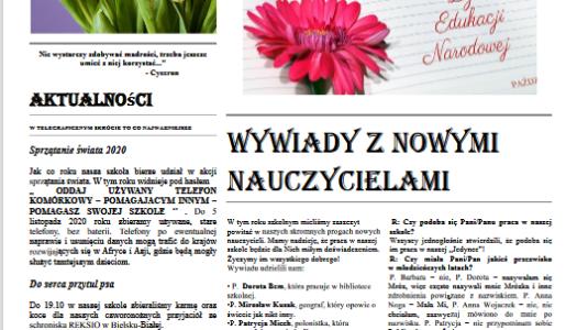 """Obrazek aktualności """"NEWSY JEDYNKI"""" - I WYDANIE NASZEJ GAZETKI W R. SZK. 2020/21"""