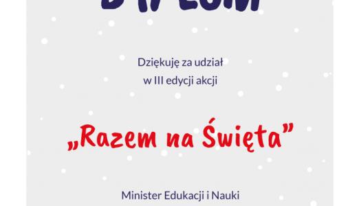 """Obrazek newsa PAMIĄTKOWY DYPLOM - """"RAZEM NA ŚWIĘTA"""""""