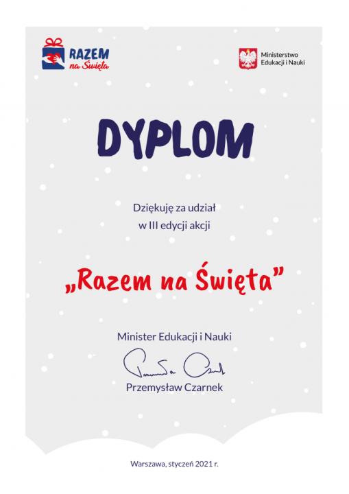 """Obrazek aktualności PAMIĄTKOWY DYPLOM - """"RAZEM NA ŚWIĘTA"""""""